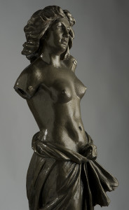 Statua in ghisa reggi lampada per lampione 1900 ca.